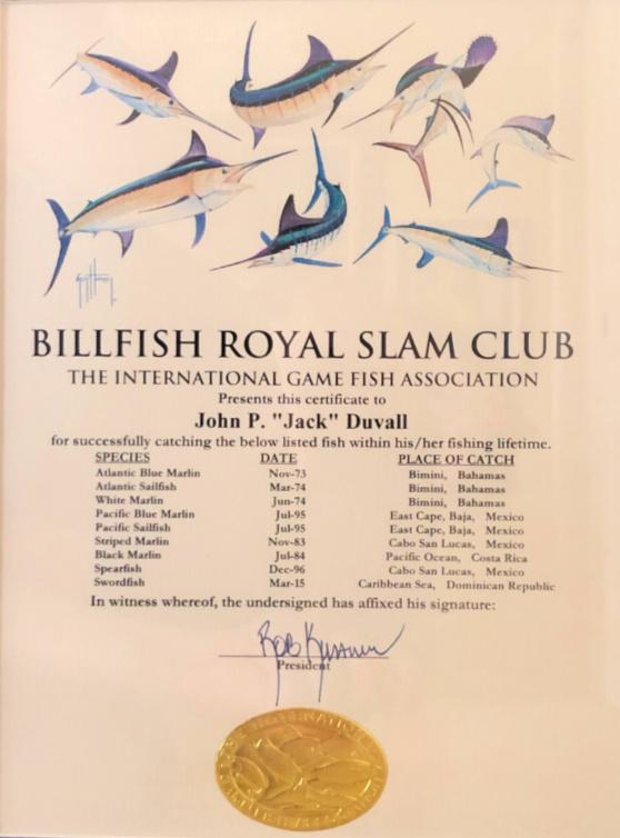 jack duvall royal slam certificate